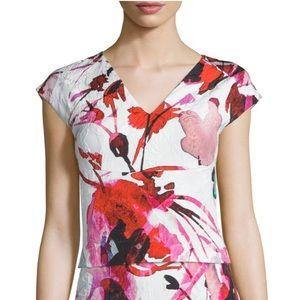 Sachin & Babi Cap-Sleeve Floral Crop Top